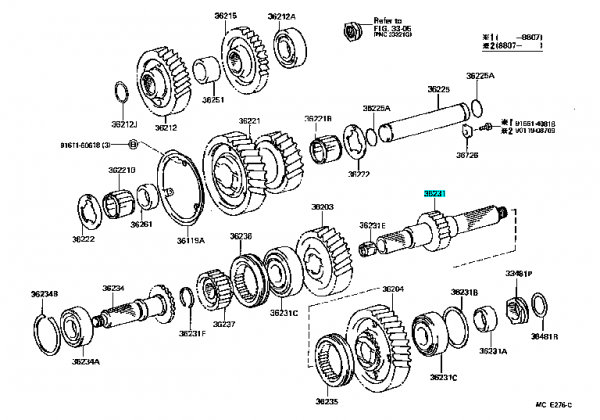 Landcruiser40,60,70Reartransferoutputshaft36231-60021